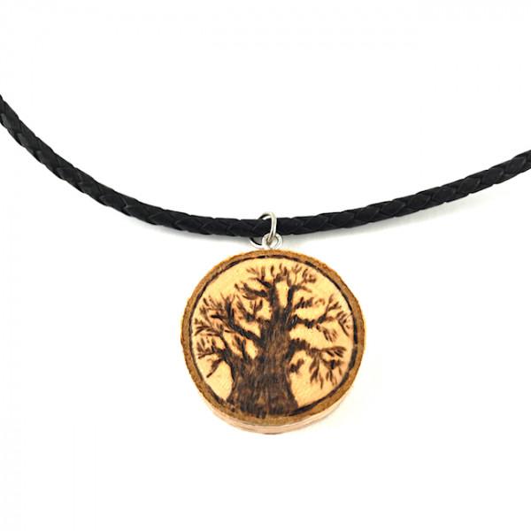 Baobab Halskette - Brandmalerei - Birke
