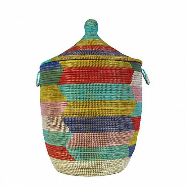 Wäschekorb Senegal L - Zick Zack - Bunt