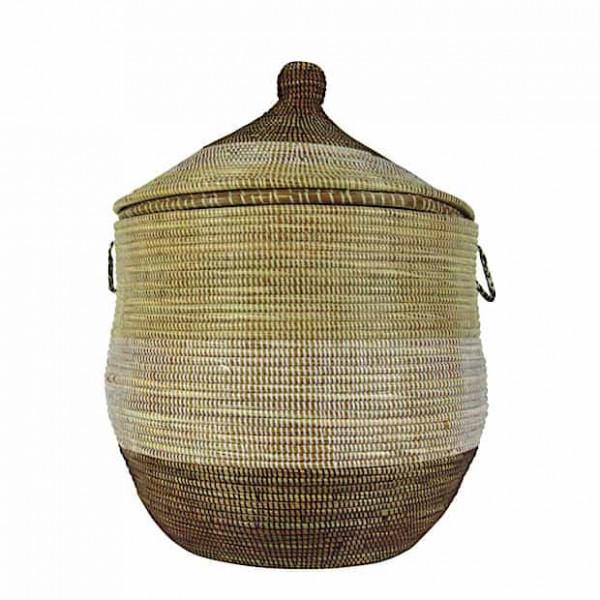 Wäschekorb Senegal M - Stripes - Beige/Weiß/Braun