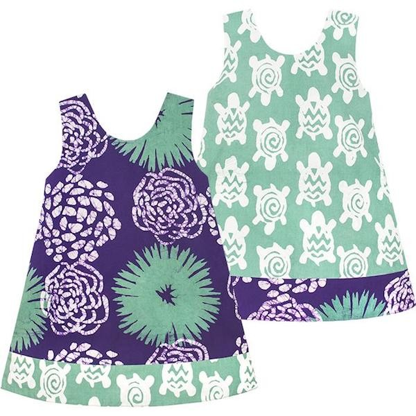 Babys Reversible Dress - Garden Eggplant