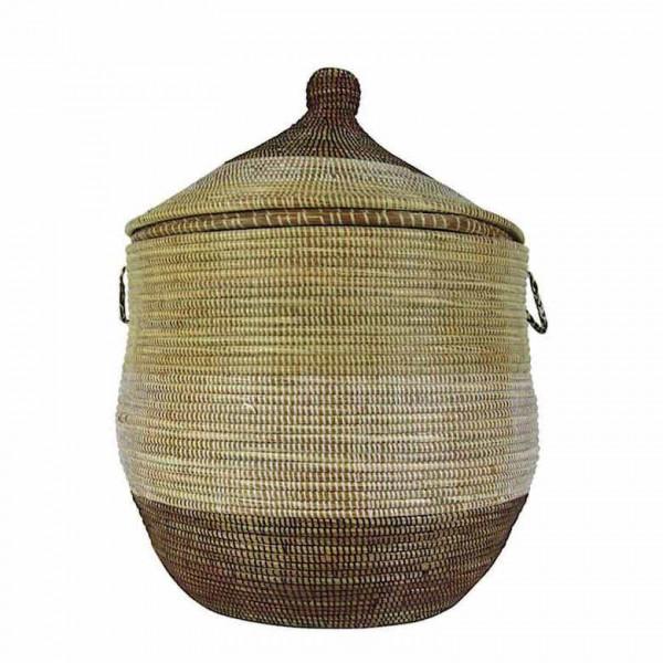 Wäschekorb Senegal L - Stripes - Beige/Weiß/Braun