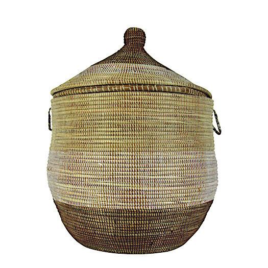 Wäschekorb Senegal S - Stripes - Beige/Weiß/Braun