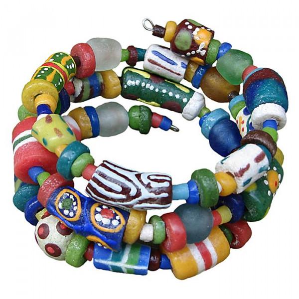Glasperlen Armband aus Ghana - Bunt - Spirale