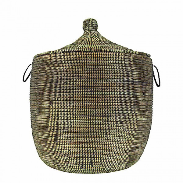 Wäschekorb Senegal L - Stripes - Schwarz