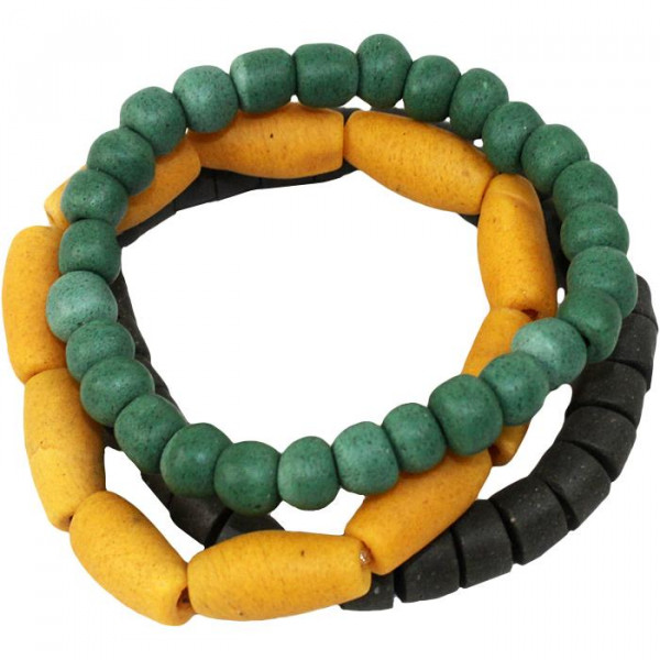 Recycling Armband aus Ghana - Mustard - Glas