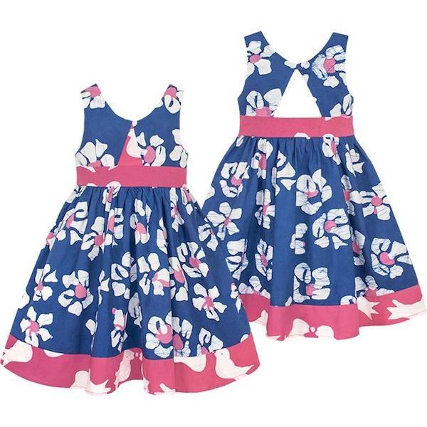 Girls Twirl Dress - Tropics Indigo