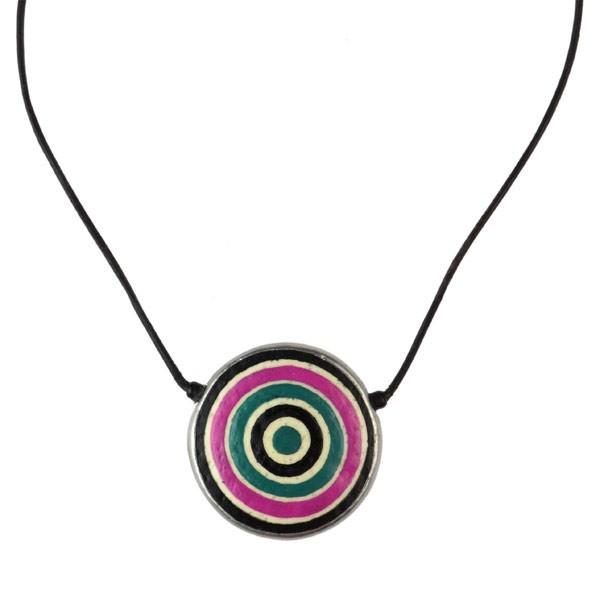 Karma Halskette - Circles - Straußenei - Bunt