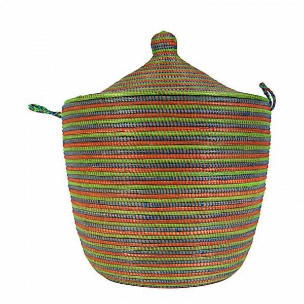 Wäschekorb Senegal L - Stripes - Grün/Blau/Orange