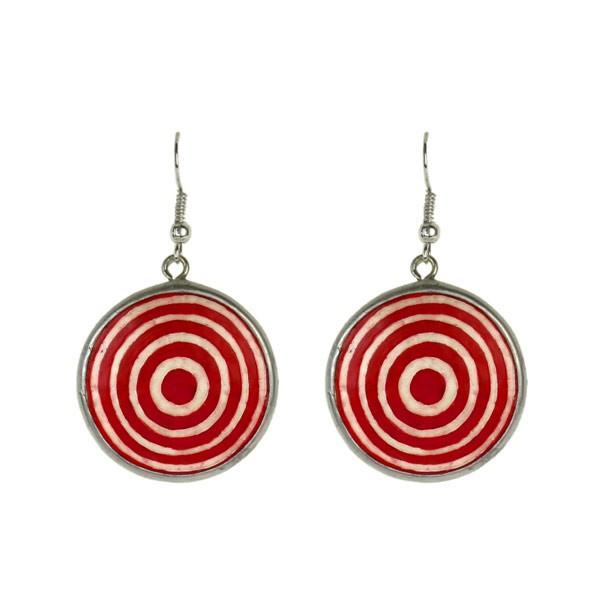 Karma Ohrringe - Circles - Straußenei - Rot