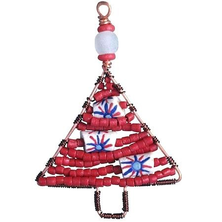 Perlenanhänger Baum - Rot Klein - Upcycling