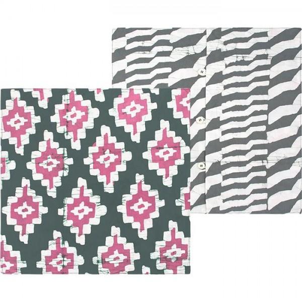 Kissenbezug aus Bio Baumwolle Grau Rosa Pink