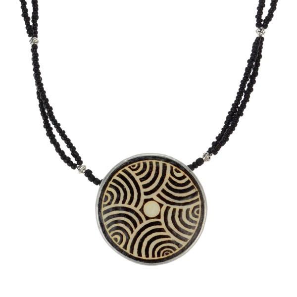 Karma Halskette - Maze - Straußenei - Schwarz