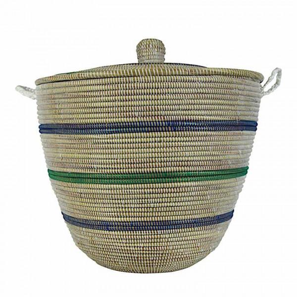 Wäschekorb Senegal L - Stripes - Weiß/Blau/Grün