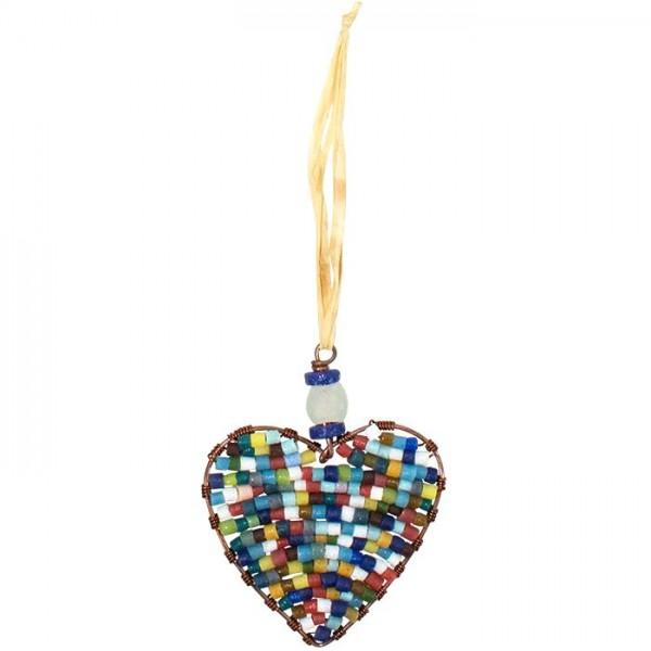Perlenanhänger Herz Christbaumschmuck nachhaltig