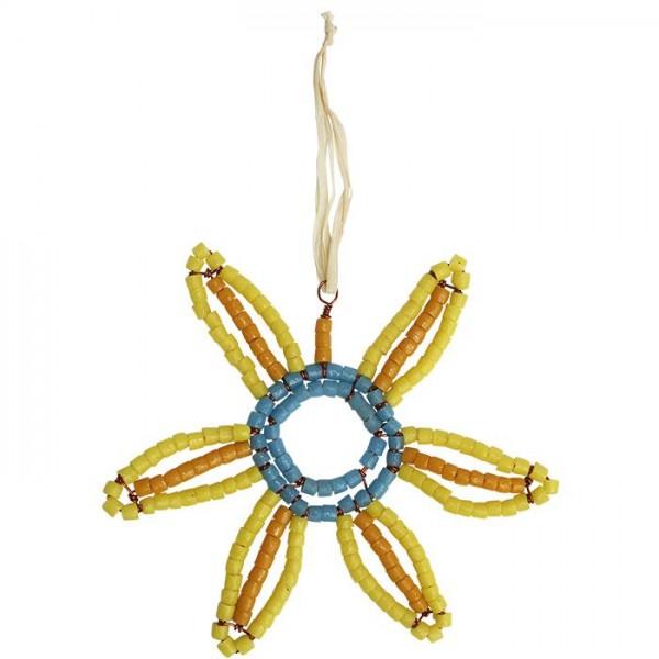 Perlenanhänger Sunflower - Gelb Groß - Upcycling