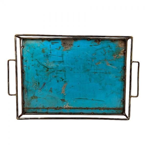 Ölfass Upcycling Tablett Moogoo Creativ Blau Tuerkis