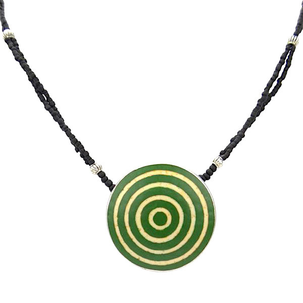 Karma Halskette - Circles - Straußenei - Grün