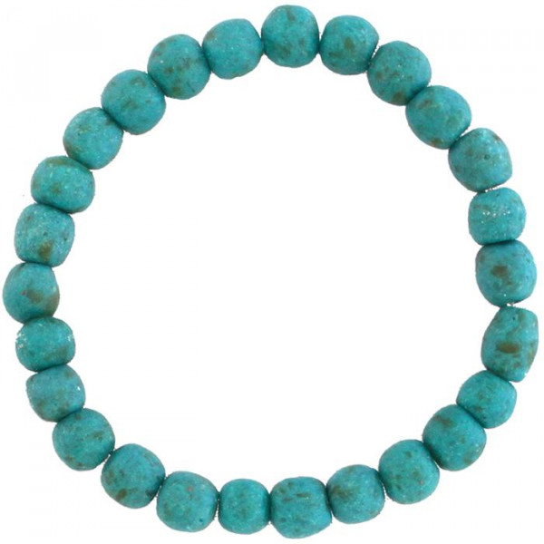 Upcycling Armband aus Ghana - Blaugrün - Glas