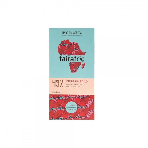 Fairafric Schokolade aus Ghana Bio Fairtrade Vollmilch 43 Faire