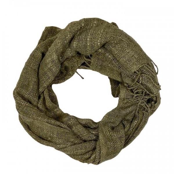 Schal aus Seide Queen Eleni Sabahar Olive Grün Eri Seide Friedensseide