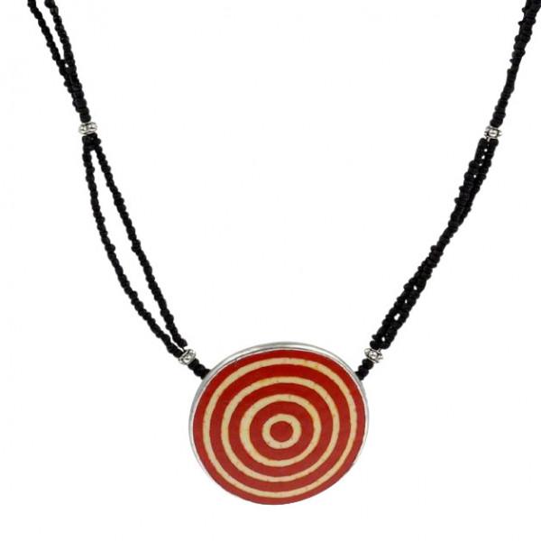 Karma Halskette - Circles - Straußenei - Rot