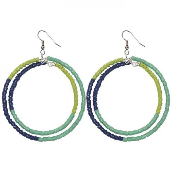 Hoop Ohrringe blau grün groß xxl bunt rund 6cm